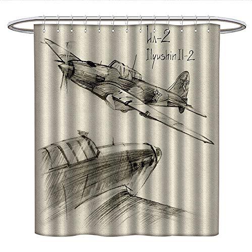 Anshesix Airplane Decorcloth Shower curtainHand Drawn Series of Soviet Military Enginery Jets Flights World War Aviation SketchCurved Shower Curtain rodBlack Ecru