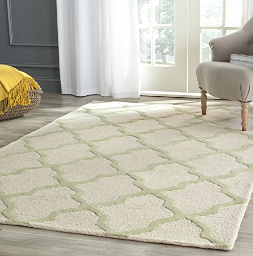 - Safavieh Cambridge Collection CAM121N Handcrafted Moroccan Geometric Ivory and Light Green Premium Wool Area Rug (5' x 8')