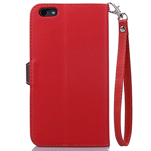 YAJIE-Carcasa Funda Para Huawei Honor 4X Case, Nature Leaf Cierre magnético PU Leather Wallet Flip Case Cover ( Color : Green ) Red