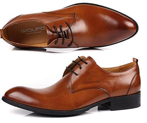Hombres Negocio Cuero Con cordones Zapatos Plano Primavera Vestir marrón Negro Puntiagudo Soltero Casual Oxfords tamaño 38-44 Brown