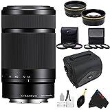 Sony E 55-210mm F4.5-6.3 Lens for ILCE-7, ILCE-7R, ILCE-7S, NEX-3, NEX-5, NEX-C3, NEX-5N, NEX-7, NEXF3, NEX5R, NEX-6, NEX-3N, NEX 5T, A3000, A5000, A5100, A6000, A6300 Sony E-Mount Cameras (Black) + Pixi-Advanced Accessory Bundle