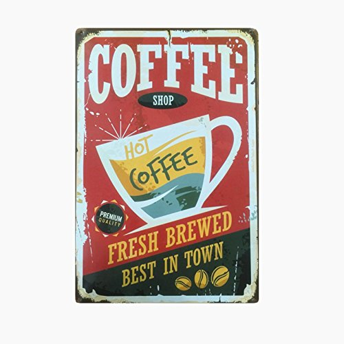 COFFEE Shop Metal Sign Tin Signs Retro Shabby Wall Plaque Metal Poster Plate 20x30cm Wall Art Coffee Shop Pub Bar Home Hotel Decor