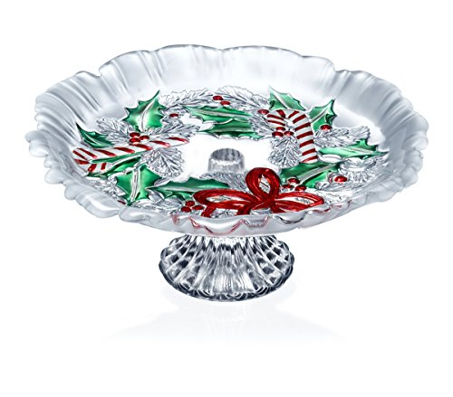 Celebrations by Mikasa Festive Wreath Footed Bon Bon Dish, 8.75-Inch
