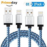Elktry, iPhone Charger Cable 2Pack 6FT Durable Nylon Braided Sync Wire Fast Lightning Charging Data Transfer Cord for iPhone7 7plus 6 6s 6plus 6splus SE 5s 5c 7 iPad Pro Air iPod (White Blue)