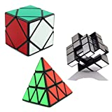 3--packed 3X3 Pyraminx +silver mirror + Skewb magic cube puzzle by toys