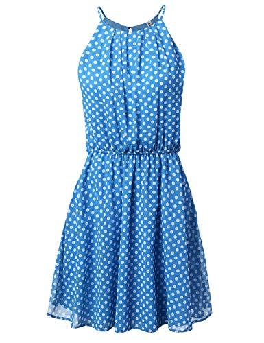 JJ Perfection Women's Sleeveless Double-Layered Pleated Mini Chiffon Dress Dotblue 3X