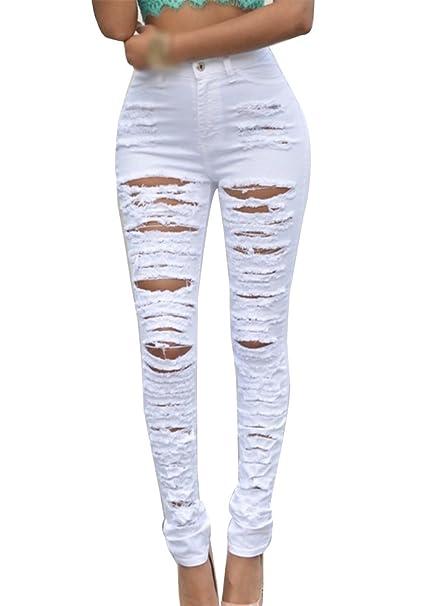 Gladiolus Mujer Vaqueros Pantalones Skinny Rotos Agujero ...