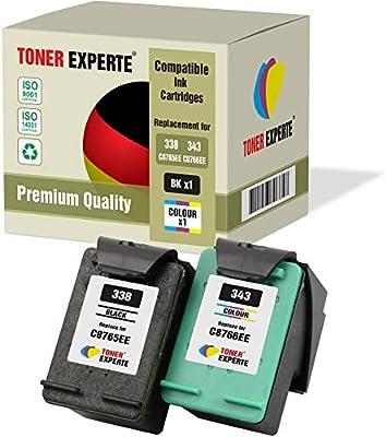 Pack de 2 XL TONER EXPERTE® Cartuchos de Tinta compatibles con HP 338 343 C8765EE C8766EE DeskJet 460 460c 5740 6540 6620 6840 9800 Photosmart 2575 2610 2710 8150 8450 PSC 1610 2355 (Negro, Color): Amazon.es: Electrónica