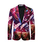 Cloudstyle Mens Blazer Notched Lapel One-Button Printed Interstellar Suit Jacket