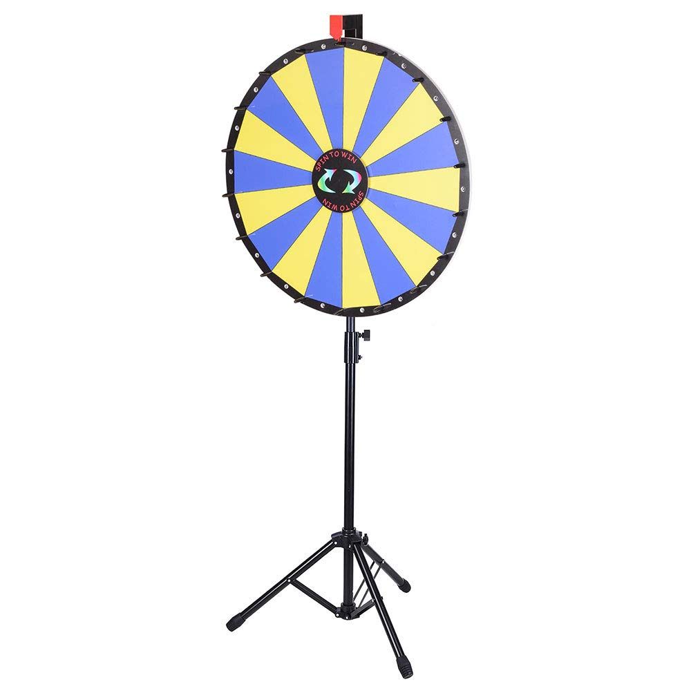 WinSpin 24 Floor Stand Prize Wheel LED Lights Tripod Fortune Spin Game 18 Slot Acrylic Board Carnival Tradeshow Yescom