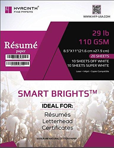 Amazon Com Smart Brights Resume Paper 100 Cotton 29lb 110g 8 5