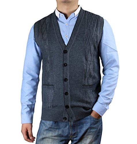 Zerdocean Men's Solid Color Button Down Sweater Vest Cardigan with Pockets Dark Gray L