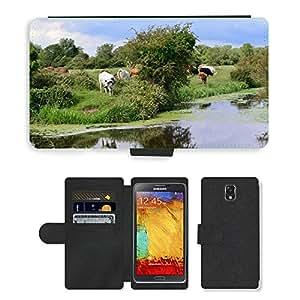 PU LEATHER case coque housse smartphone Flip bag Cover protection // M00111459 Vacas que pastan ganado Hierbas // Samsung Galaxy Note 3 III N9000 N9002 N9005