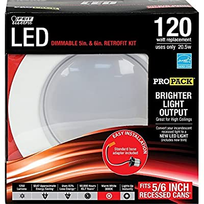 Feit Electric LEDG2R56HO/830 1250 Lumen 3000K 5 and 6 inch Dimmable Retrofit Kit
