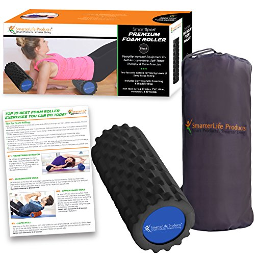 Foam Roller by SmarterLife | Portable Massager for Pre Workout, Physical Therapy, Recovery after Yoga, Pilates, Cycling and Running