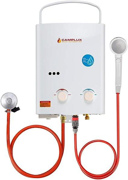 Camplux AY132 5L Instantan/é Portable Chauffe-eau /à Gaz Tankless Ext/érieur pour Maison Caravane Camping Voiture