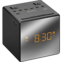 Sony Compact AM/FM Dual Alarm Clock Radio with Easy to Read, Backlit LCD Display, Battery Back-Up, Adjustable Brightness Control, Programmable Sleep Timer, Daylights Savings Time Adjustment, Black