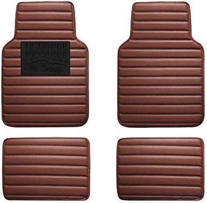 FH Group F12001BROWN Luxury Universal All-Season Heavy-Duty Faux Leather Car Floor Mats Stripe Design w. High Tech 3-D Anti-skid / Slip Backing