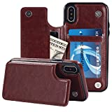 iPhone X Case,iPhone 10 Case, Small Knife Slim Fit Premium Leather iPhone X Wallet Kickstand Case Card Slots Shockproof Folio Flip Protective Defender Shell Cover for iPhone X/10 (Shiny Brown) For Sale