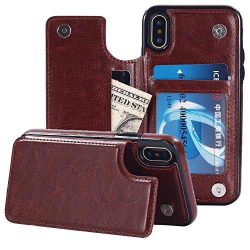 iPhone X Case,iPhone 10 Case, Small Knife Slim Fit Premium Leather iPhone X Wallet Kickstand Case Card Slots Shockproof Folio Flip Protective Defender Shell Cover for iPhone X/10 (Shiny Brown)
