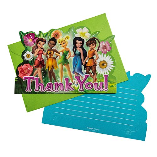 - Disney Tinkerbell And The Fairies Birthday Party Thank You Cards (8 Pack), Multi Color, 5 7/9