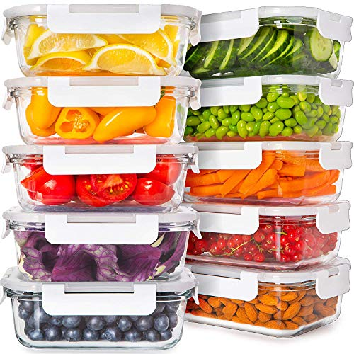 Prep Naturals Glass Food Storage Containers with Lids [24 Ounce