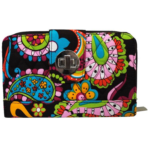Floral Paisley Print NGIL Quilted Twist Lock Wallet