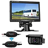 LeeKooLuu Wireless Backup Camera System with 7'' LCD Monitor Kit For Car/SUV/Truck/Pickup/Van/Camper 12V-24V Rear view Camera IP68 Waterproof 18 LED IR Lights Night Vision