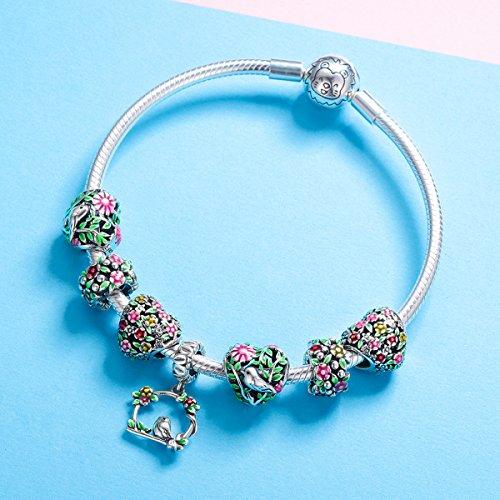 BAMOER 925 Sterling Silver Heart Charm Bead Love Charm Fit for Snake Chain Bracelet Spring Flower Charm by BAMOER (Image #4)