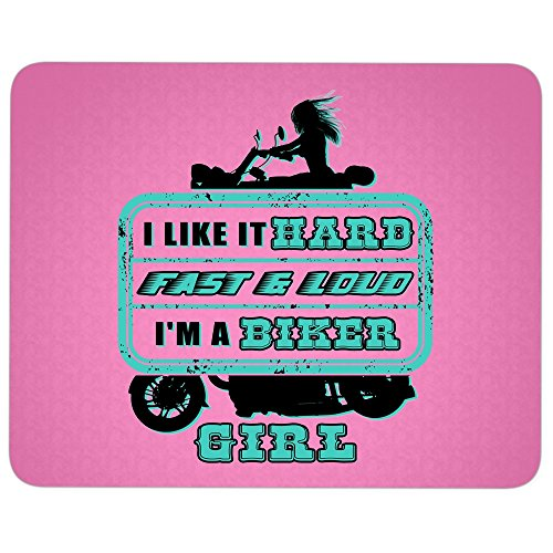 Hard Fast And Loud great gift idea Mousepad, I'm A Biker Girl Mouse Pad (Mouse Pad - Hot Pink)