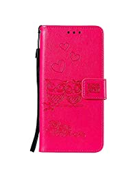 NEXCURIO Huawei P20 Wallet Case with Card Holder Folding Kickstand Magnetic Leather Case Shockproof Flip Cover for Huawei P20 - NEHHA100587 Hot Pink
