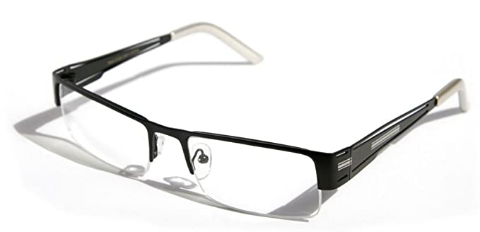 e276f4b8d44 Men Rectangular Half Rimless Metal EyeGlasses Sophisticate look Clear Non  Prescription Lens (Black)
