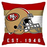 Gdcover Custom Stripe San Francisco 49ers Pillow Covers Standard Size Throw Pillow Cases Decorative Cotton Pillowcase Protecter Zipper - 18x18 Inches