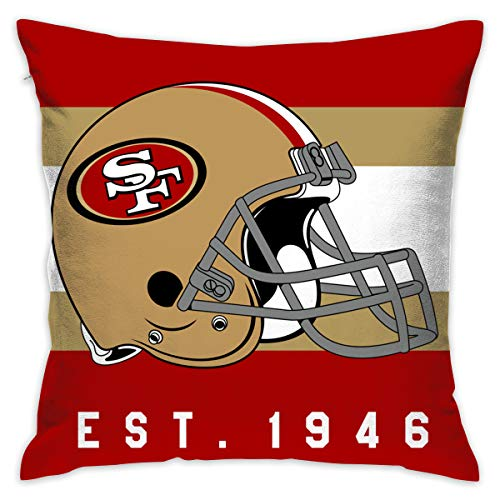 e San Francisco 49ers Pillow Covers Standard Size Throw Pillow Cases Decorative Cotton Pillowcase Protecter Zipper - 18x18 Inches ()