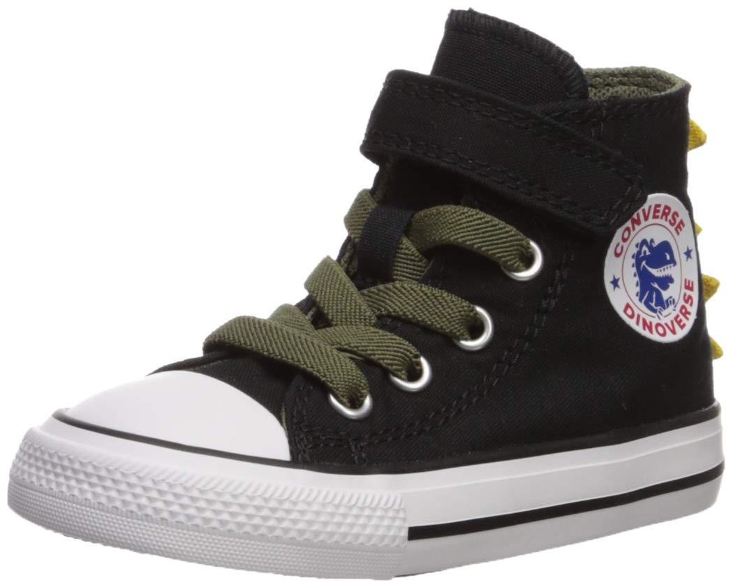 Converse Boys' Chuck Taylor All Star 1V Dino Spikes Sneaker, Black/Field Surplus/White, 10 M US Toddler
