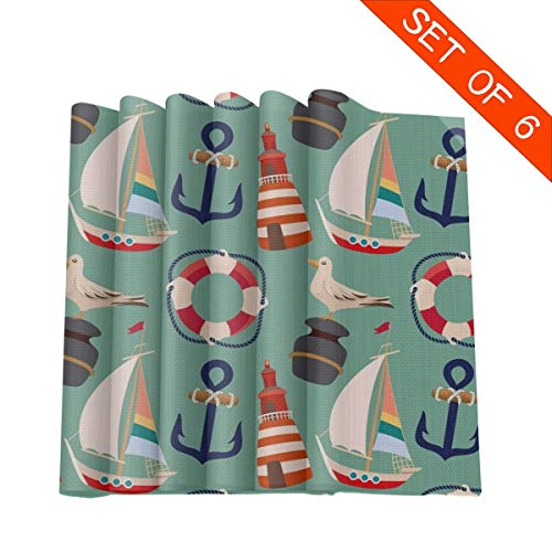 Tidyki Cartoon Boat Anchor Sailing Pigeon Placemats Set of 6 Table Mats Heat Insulation Washable Fabric Place Mats for Dining Room Kitchen Table Decor 12