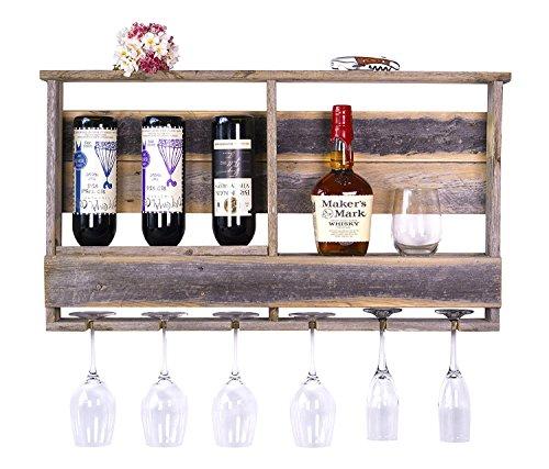 del Hutson Designs - The Barnwood Bar w/ Inverted Wine Rack, Long Stem Glass Holder & Shelf, Rustic USA Handmade Reclaimed Wood