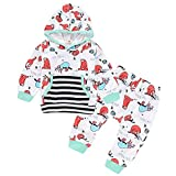 Voberry Unisex Baby Girls Boys Long Sleeve Sloth Hoodie Tops and Pants Outfit Set with Kangaroo Pocket for 3-24 Mothes Kids (6-12Months, White)