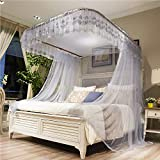 ASDFGH U-Track Lace Canopy Mosquito Netting, Palace Princess Bed Canopy Fine mesh Mosquito net Stainless Steel Bracket, Keeps Away Insects & Flies-Gray 200x220cm(79x87inch)