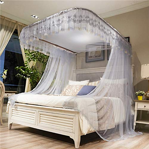 ASDFGH U-Track Lace Canopy Mosquito Netting, Palace Princess Bed Canopy Fine mesh Mosquito net Stainless Steel Bracket, Keeps Away Insects & Flies-Gray 200x220cm(79x87inch) by ASDFGH (Image #4)