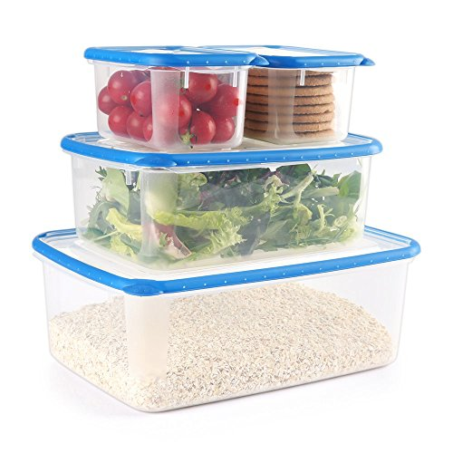 COZZINE Food Storage Containers, Airtight Leak Proof Lock Durable Plastic Microwaveable Bento Box Dishwasher and Freezer Food-Safe, BPA Free (Blue, 4-Piece)