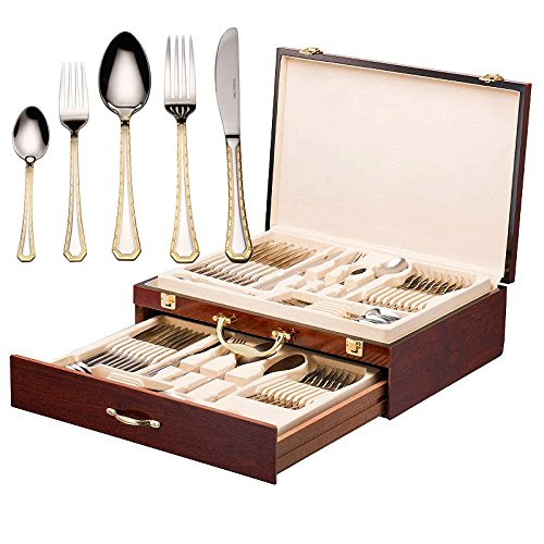 - Italian Collection 'Damascus' 75-Pc Premium Silverware Flatware Serving Set, Dining Cutlery Service for 12, 24K Gold Plated 18/10 Stainless Steel Hostess Serving Set in a Chest
