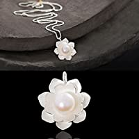 Simple Silver Plated Pearl Cage Pendant Charm Lotus Flower Woman Jewelry Gift