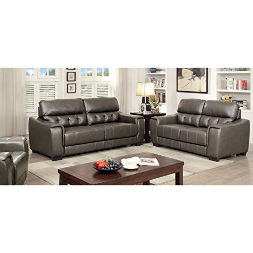 Furniture of America Hacienda Contemporary 3-piece Tufted Dark Grey Sofa Set