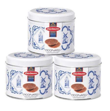 Daelmans 3 Stroopwafels Delft Blue tins
