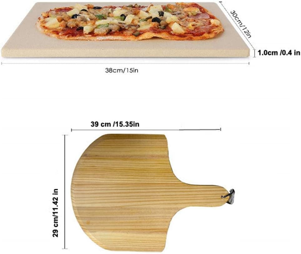 38x30x1 cm Bestlle Pierre /à Pizza rectangulaire Cordierite Pizza Pan C/éramique Cuisson Pierre /à Cuisson avec Spatule pour Four Barbecue