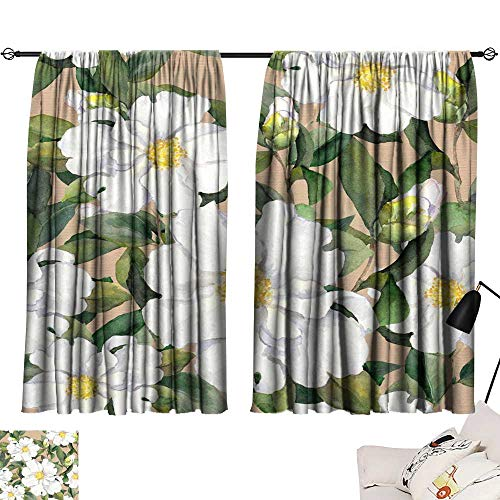 Magnolia Draperies - Hariiuet Blackout Draperies for Bedroom Kitchen Seamless Floral Wallpaper with White Flowers Magnolia Peonies Watercolour 72
