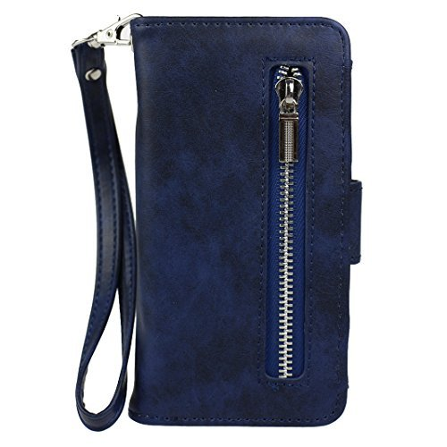 iPhone 5S Wallet Purse Case, iPhone SE Flip Case Cover, Rosa Schleife Premium PU Leather Zipper Wallet Handbag Magnetic Flip Cover Case with Credit Card Holder and Hand Strap for Apple iPhone 5/5S/SE