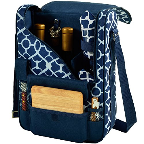 Picnic at Ascot Wine and Cheese Cooler Bag Equipped for 2 with Glasses, Napkins, Cutting Board, Corkscrew , etc.  - Trellis Blue (Cheese Wine Cooler)