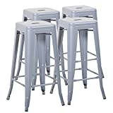 Cheap Mimo Life Metal Modern Barstool Set of 4 Backless Indoor Outdoor Stackable Bar Stools Square Seat, 30 Inches High, Silver